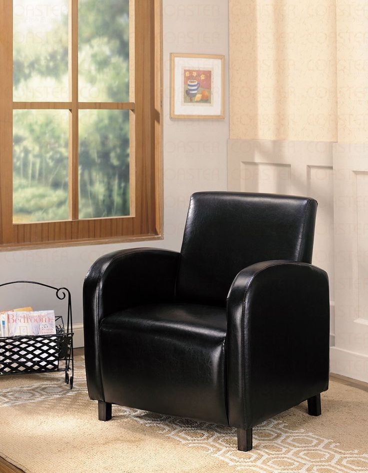 18 Attractive Accent Chairs Under $100 This very inexpensive chair (it's vinyl... not leather), offers high arms and back with a well cushioned seat.  It's a great fit as an accent chair for living rooms with matching furniture color of offset lighter furniture