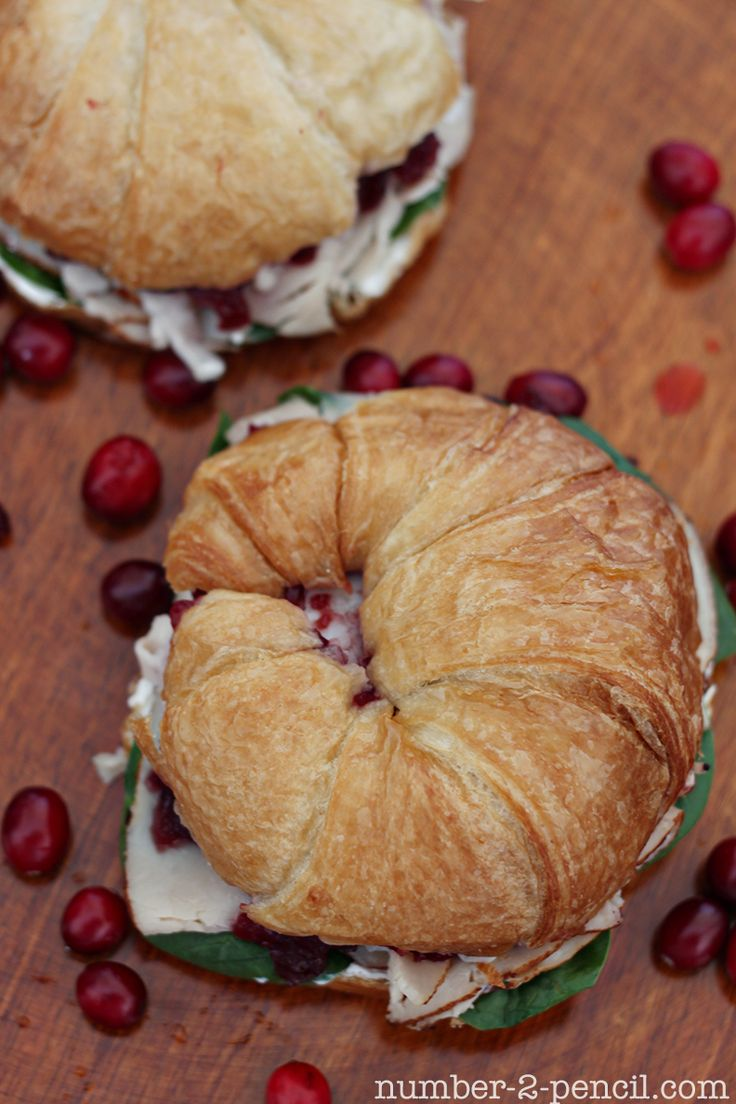 Cranberry Turkey Sandwich, with baby spinach and cream cheese.