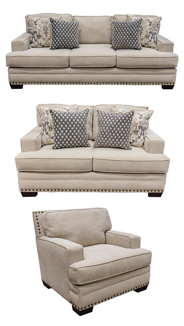 Braxton Collection Blue Sofa Living Family Room Design Home Living Room #overstuffed #living #room #furniture