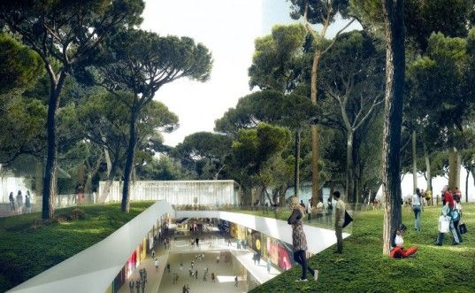Underground Shopping Mall Topped with a Park in Barcelona by MVRDV