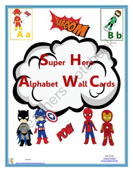 Super Hero Alphabet Wall Cards (Manuscript) from Enchanted Homeschooling Mom Shop on TeachersNotebook.com (15 pages)  - Super hero alphabet wall card fun!