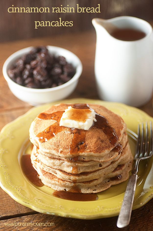 These cinnamon raisin bread pancakes are made a little healthier with whole wheat flour and lots of raisins! Drown them in maple syrup or cinnamon syrup!