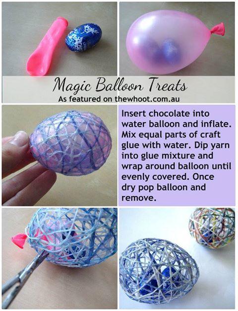 Qué divertidos estos huevos rellenos de sorpresa!!! Hazlos con globos y cuerda. Mete chuches en su interior.