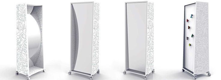 Le designer Ineke Hans a imaginé ce miroir vagabond ludique. À l'honneur au dernier salon de Milan, il inclut deux miroirs, un normal, un concave, destinés à faire jouer les enfants, sous couvert d'un imprimé ayant pour thème le cirque. ©Magis Me Too distribué par Arrivetz (Lyon 2ème)