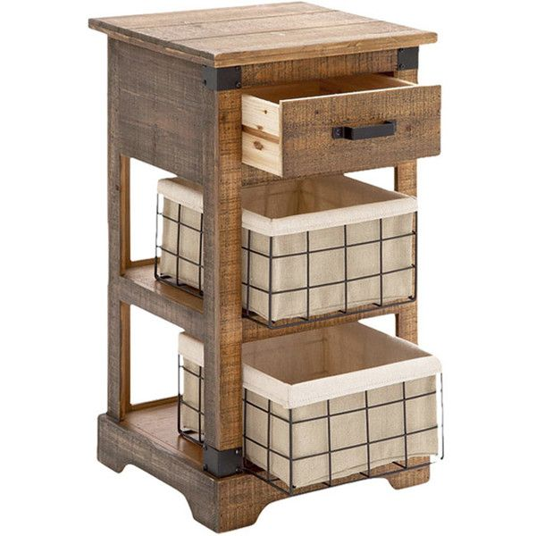 DecMode 1 Drawer 2 Basket Nightstand   Pine Wood   The DecMode 1 Drawer 2  Basket Nightstand   Pine Wood Makes A Chic Side Table For Any Space From  The ...