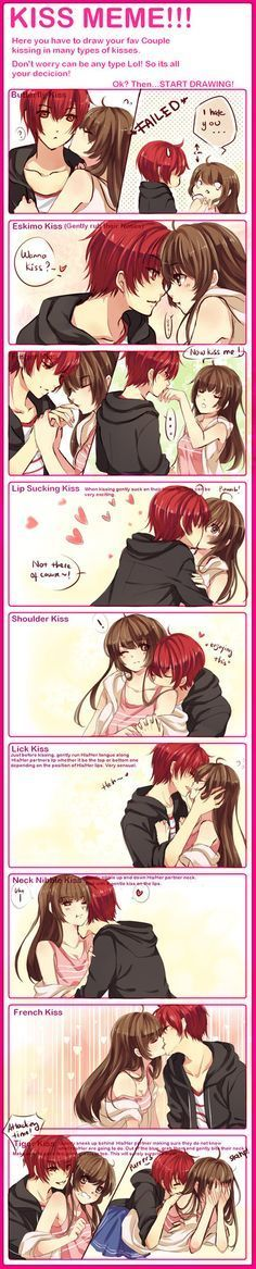 Anime Couples - kiss - Cerca con Google, This reminds me of my boyfriend and I soooo much. He basically does everything on the list. <3