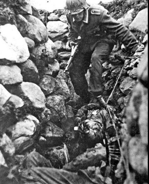 """panzerknacker88: """"Stalingrad - walking on the bodies of dead russian soldiers in trench taken after heavy artillery barrage. """""""