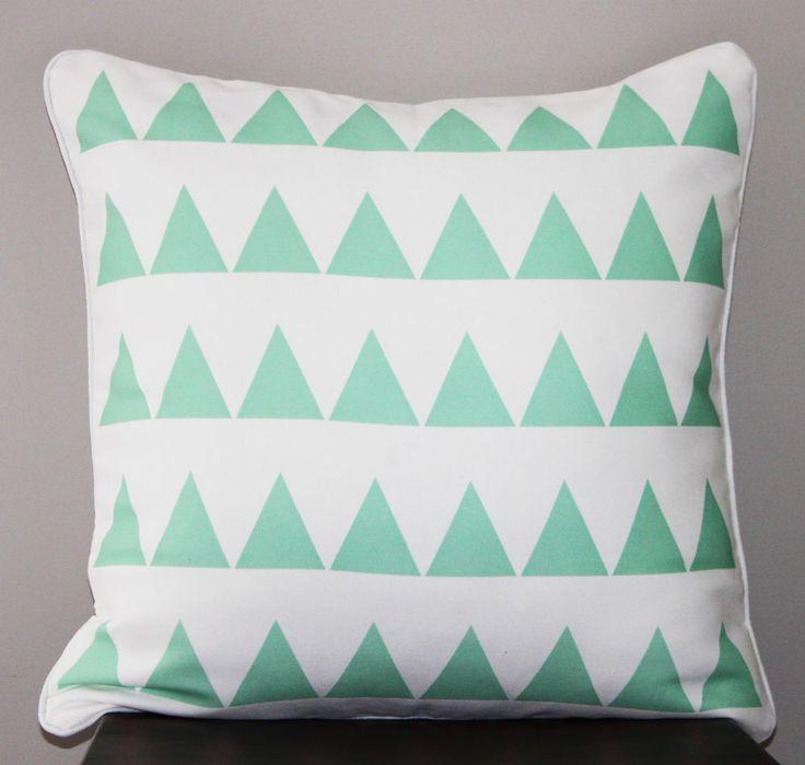 Mint Green Triangle Throw Pillow Cushion Cover - geometric pattern,modern decor $22.10