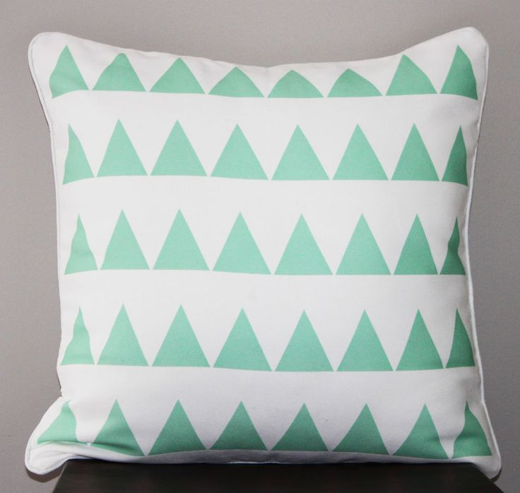Mint Green Triangle Throw Pillow Cushion Cover - geometric pattern,modern decor $22.10