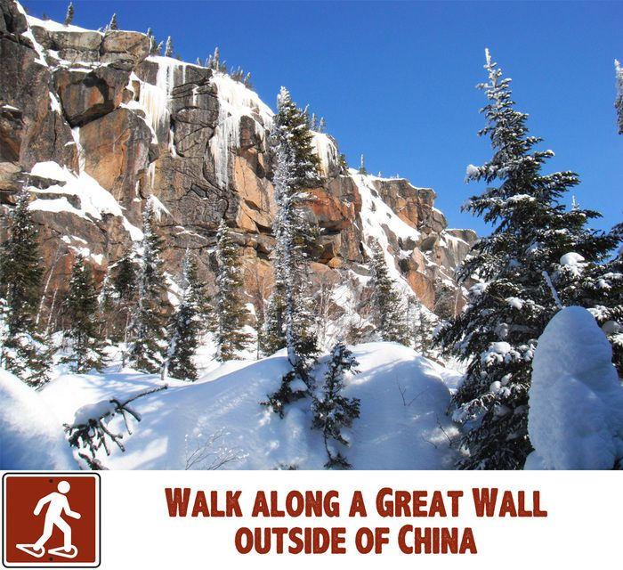 Reason 164 to visit #Saguenay_Lac in winter : Walk Along a Great Wall Outside of China. Discover Sentier les Murailles, 70 km of marked trails : http://ow.ly/sKNLm. #175reasons #Hiking