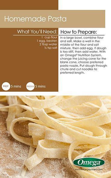 Omega's Nutrition Systems are more than just a juicer. Make your own delicious pasta!