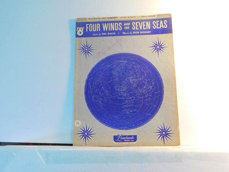 The Four Winds and the Seven Seas - vintage sheet music by Hal David and Don Rodney by julesartstuff on Etsy