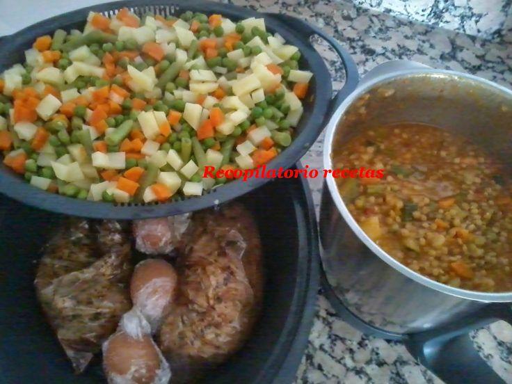 """Recopilatorio de recetas : Lentejas, solomillo en papillote y ensaladilla en thermomix """" """"cocina en niveles"""""""