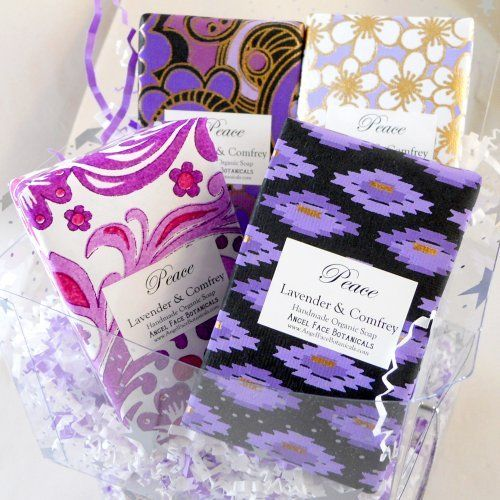 Organic Soap Gift Set - 4 Lavender Bars in Decorative Artisan Papers by Angel Face Botanicals. $28.00. Four Different Decorative Artisan Paper Wraps. 85% Certified Organic Ingredients. Arrives Gift-Wrapped & Ready to Give. Luxury Organic Soap - Full Size Bars. Eco-Friendly Gift for the Lavender Lover!. Organic Gift Set of 4 Lavender Soap Bars for Men or Women SpaGoddess' Luxury Organic Soaps Sets make the perfect, ready-to-give gift for him or her! Wrapped in a gorgeous assor...