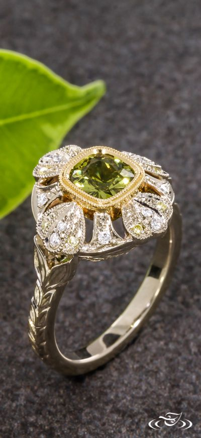 Green Cushion Sapphire Floral Halo Engagement Ring Green Lake Jewelry