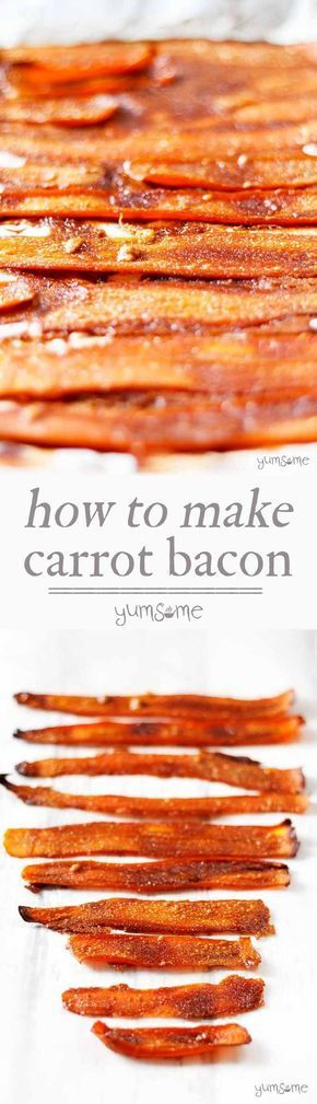 This delicious, easy-to-make vegan bacon substitute is made from carrots and five other store cupboard ingredients. | http://yumsome.com