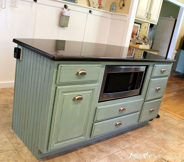 Kitchen Island Makeover   Duck Egg Blue Chalk Paint R 129 best Kitchen ideas images on Pinterest   Kitchen  Home and  . Make A Kitchen Island From Stock Cabinets. Home Design Ideas