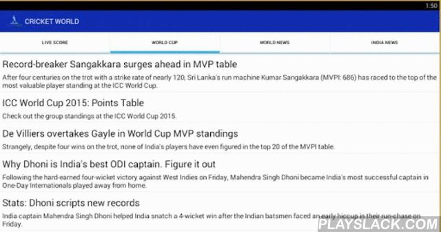 Cricket World:IPL Edition  Android App - playslack.com , Join the latest feed of best sport in the world with small app, Enjoy the fun.Live Score Feed:World Cup Updates:IPL ScoreCardThe sources from rediff.com & Live Cricket From ESPN.Write us your important suggestion atappsworldstudio@gmail.com