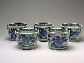 Antique Japanese Blue and White Imari Porcelain Cup