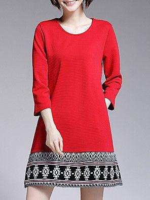 Mulheres Evasê / Solto Vestido,Casual / Tamanhos Grandes Vintage / Moda de Rua Geométrica Decote Redondo Mini Manga ¾ Vermelho / Preto