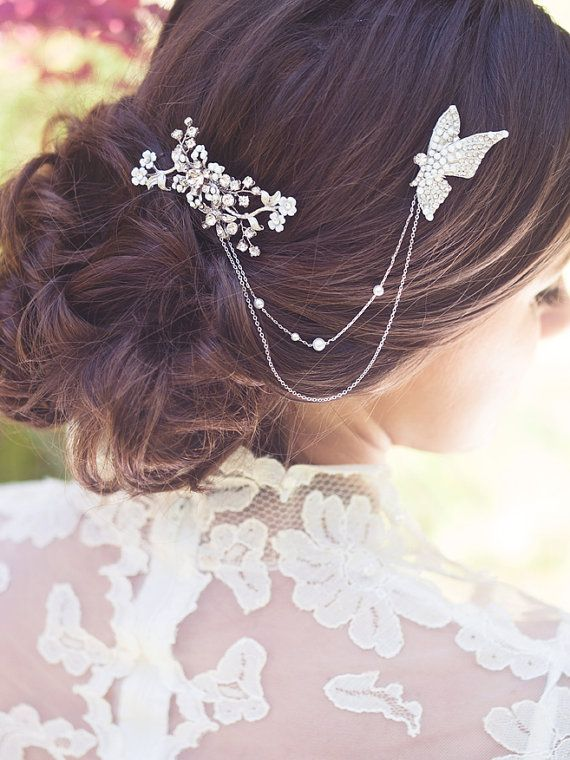 Bridal crystal comb wedding hair brooch butterfly by Elibre