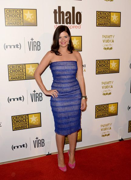 Casey Wilson Strapless Dress - Casey Wilson chose a figure-flattering purple strapless dress for the Critics' Choice Television Awards.