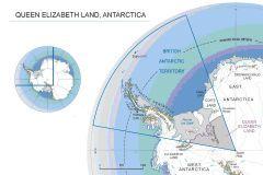 Map of Queen Elizabeth Land, Antarctica.