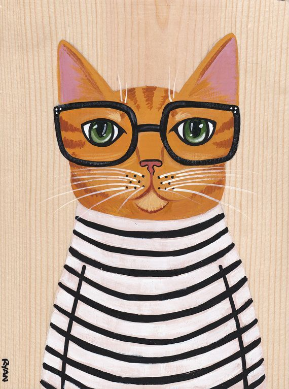 Hipster Stripes Original Cat Folk Art Painting by KilkennycatArt