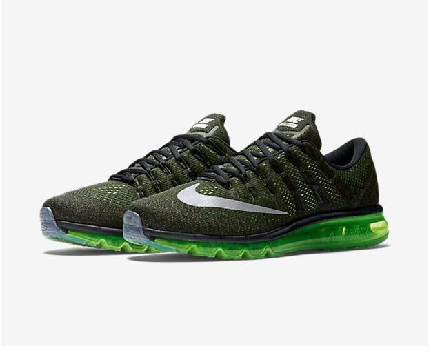 quality design a92b6 c0943 Spring Summer 2018 Genuine Nike Air Max 2016 Running Black Green Silver