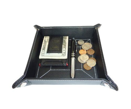 Black Leather Mens Jewelry Catchall Key Wallet Coin Box Tray Valet Change Caddy by TimelyBuys