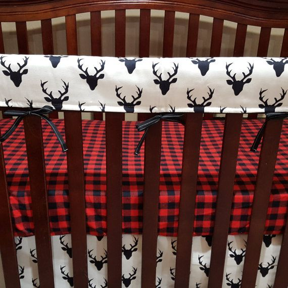Buck Deer Baby Crib Rail Guard Cover Navy by DesignsbyChristyS