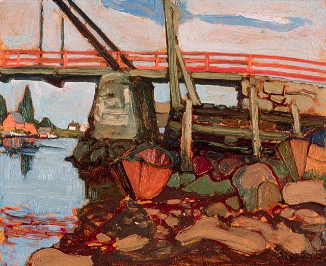 """Bridge at Petite Rivière, Nova Scotia,"" J.E.H. MacDonald, 1922, oil on cardboard, 8.4 x 10.4"", National Gallery of Canada."