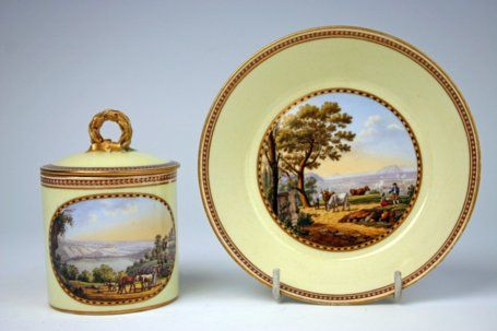 Meissen yellow ground lidded cup and saucer from the 'Marcolini'