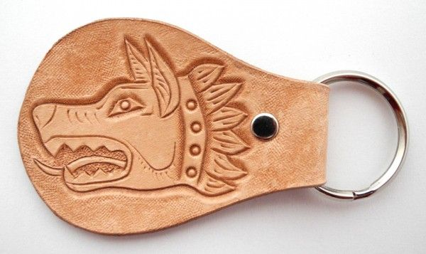 Leather key fob, hand-carved, Draco - the Dacian wolf, key chain