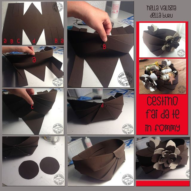 Nella valigia della Buru: Tutorial lampo per realizzare un cestino fai da te in gomma crepla o cartoncino