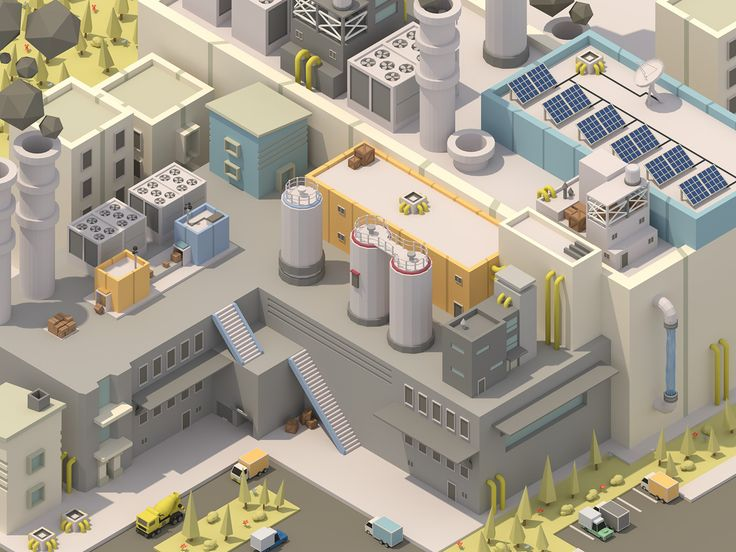 A low poly style with a isometric angle factory made in blender.