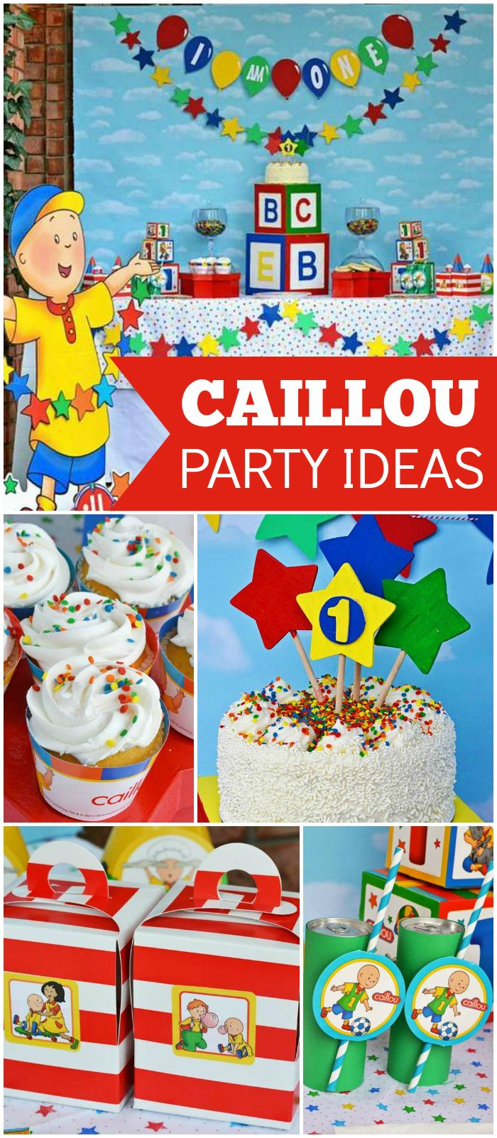 This Caillou birthday party is so colorful and fun! See more party ideas at CatchMyParty.com!