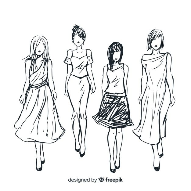Download Sketch Collection Of Fashion Models For Free S