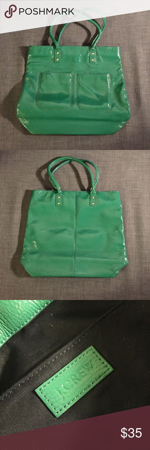 J Crew Green Patent Leather Tote Bag Moving sale! J Crew green patent leather tote bag 💼 almost brand new - only used a couple of times. Last pic for scale 🙋🏻 perfect as a laptop tote bag 👜 J. Crew Bags Totes