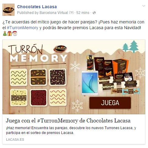 "Post on Facebook to launch the 2015 Christmas promotion ""TurrónMemory"". A Mobile-First, Gamification-based memory game based around their new Christmas nougats. http://www.lacasa.es/turronmemory/"