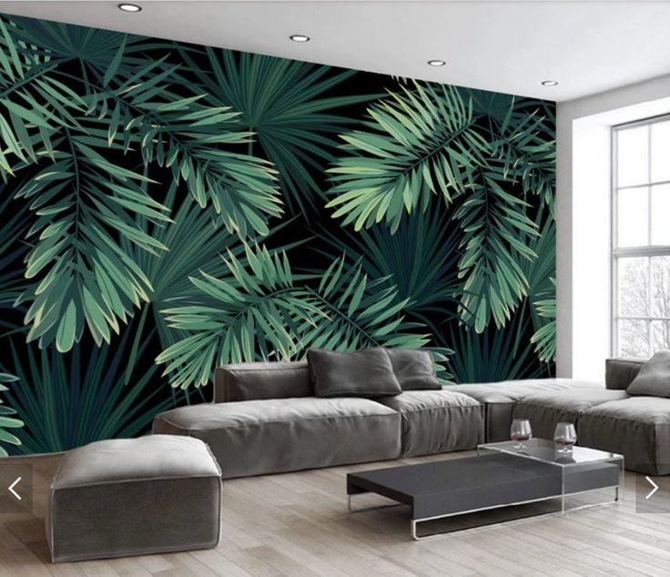 Jungle Palm Leaves Wallpaper Murals Tropical Leaves Wall Mural 3D Printed Wall Art Decals Photo Wall Papers Rolls Hand Painting Murals  – Design
