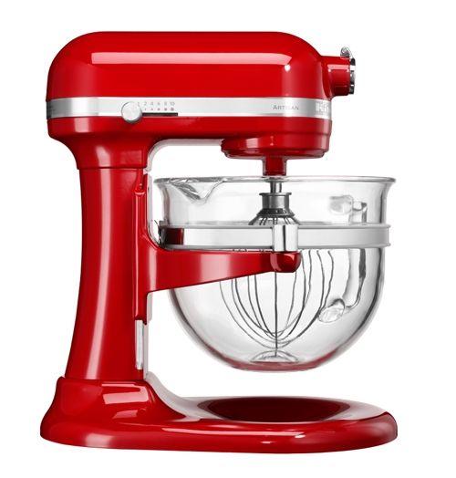 Robot KitchenAid Artisan avec bol en verre, rouge Empire