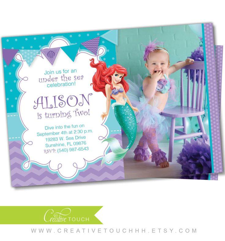 Little Mermaid Invitation, Little Mermaid invite, Ariel invitation, Ariel Invite, Photo invitation, Birthday invitation, Princess Ariel (3) by CreativeTouchhh on Etsy (null)