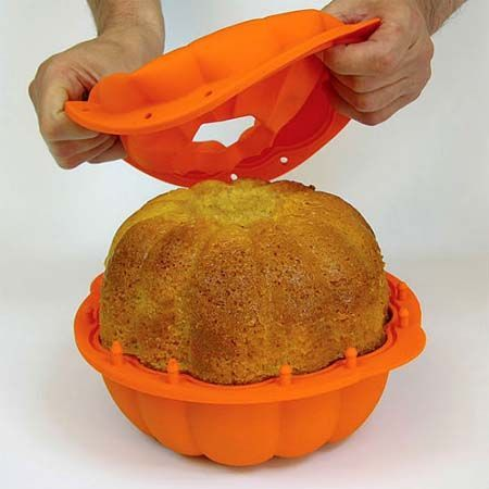 Not only just a 3D cake mold, also it could be a great stuff for Halloween to make a pumpkin shaped cake. It's non-stick and made from platinum silicone, so it's ready to go in the oven or microwave. Even it can be folded for an easy storage without becoming deformed. Price $19.50