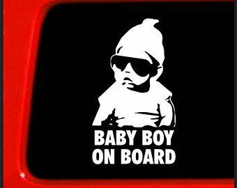 Baby Boy on Board Sticker Carlos Hangover- Funny Bumper Sticker for Mom / Dad / Family -