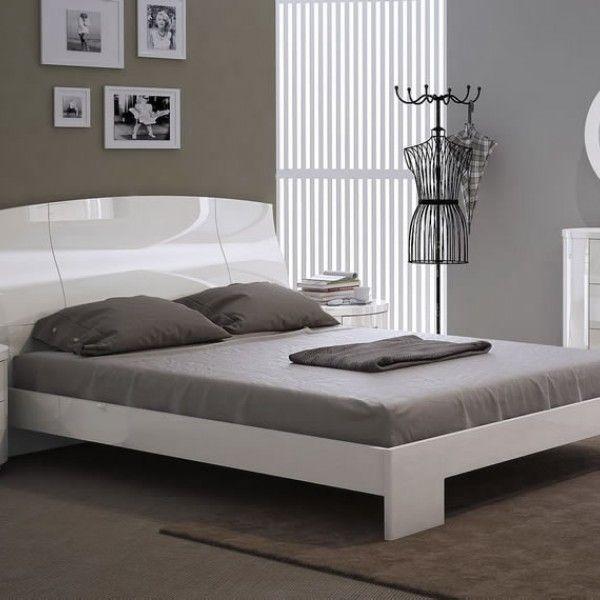 Pryce White Gloss Bed Frame Bed Frame White Bedding White