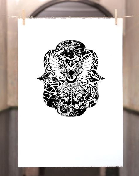 LACE FANTAIL | Screenprint: 500mm x 700mm $350 Edition of 100 | Flox.co.nz