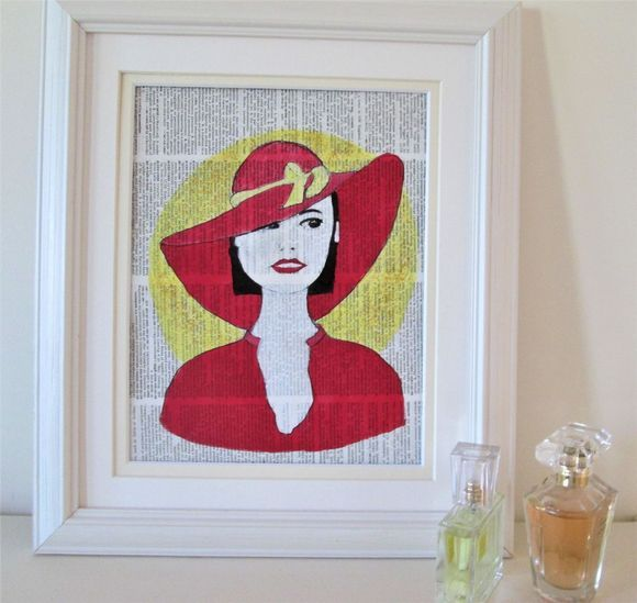 Woman in Red Hat, acrylic and Gold by Marjan's Art