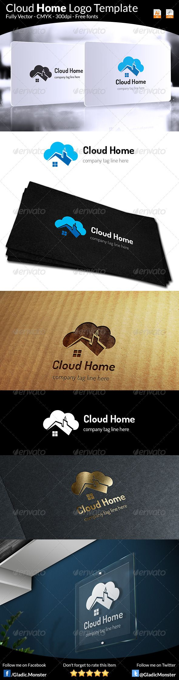 Cloud Home Real Estate Logo — Vector EPS #modern #house • Available here → https://graphicriver.net/item/cloud-home-real-estate-logo/6574385?ref=pxcr
