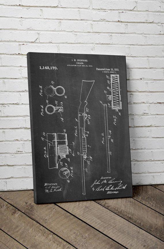 Ithaca Shotgun Model 37 Canvas Art Remington Model by PatentPrints